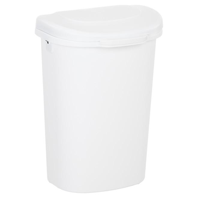 Plastic Spring-Top Waste Basket - 49 L - White