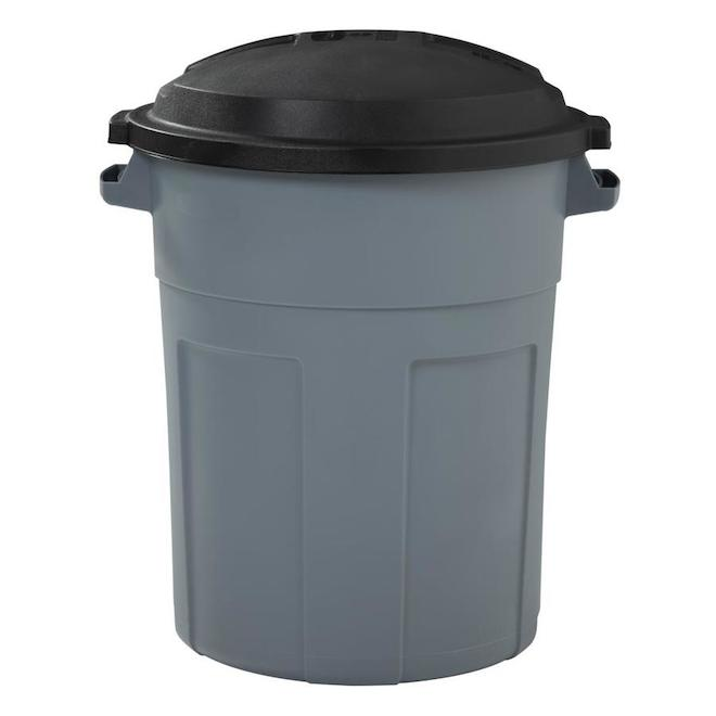 Rubbermaid 77 l Plastic Refuse Can with Lid - Pewter