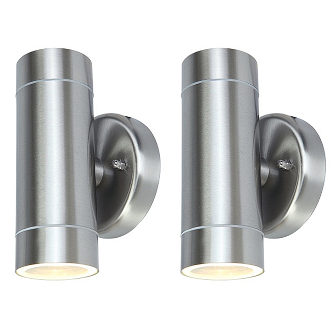 2-Light Outdoor Wall Sconce - S.Steel - 2 Pack