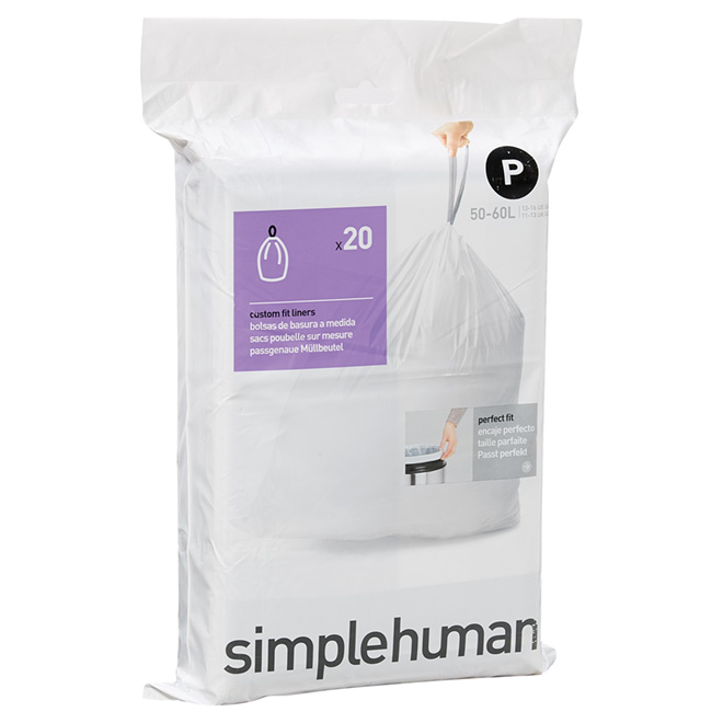Plastic Garbage Bags - 50-60 L - 20-Pack - White