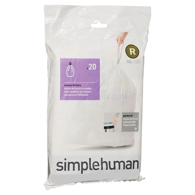 Sacs à déchets en plastique, 10 l, emballage de 20, blanc