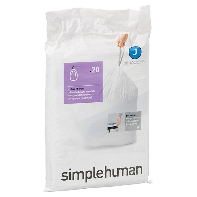 Sacs à déchets en plastique, 30-45 l, emballage de 20, blanc