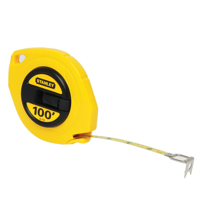100' Long Measuring Tape with Steel Blade