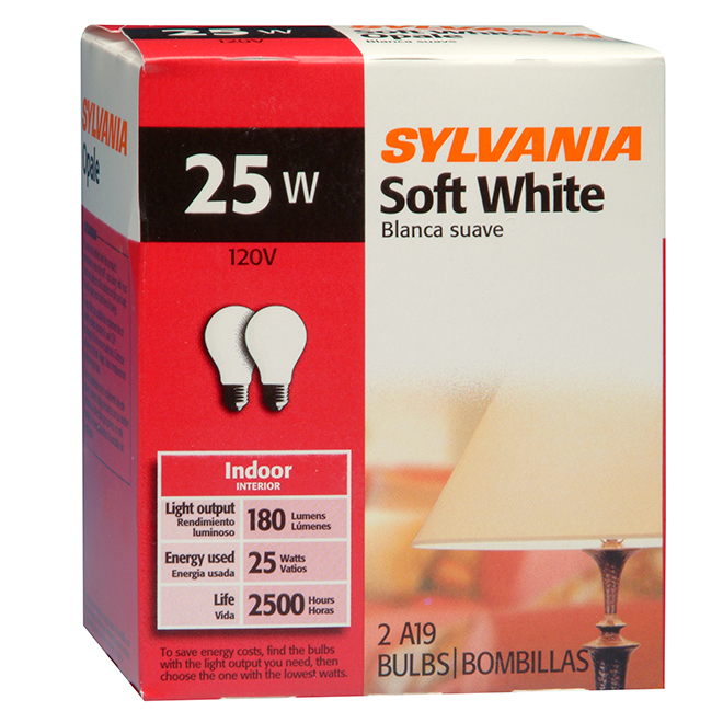 25W Incandescent Bulbs - Soft White - 2 Pack