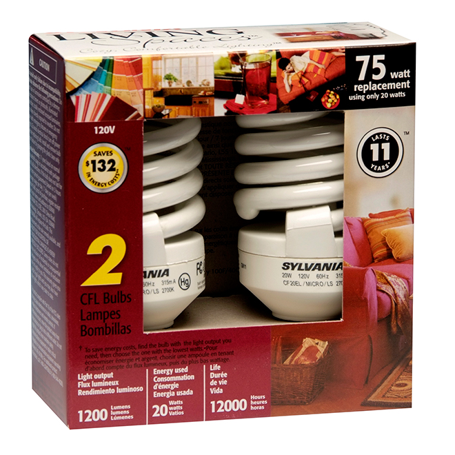20W Compact Fluorescent Mini Bulbs - 75W Equiv. - 2 Pack
