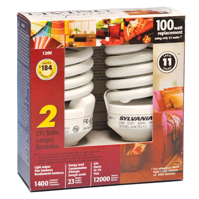 23W Compact Fluorescent Mini Bulbs - 100W Equiv. - 2 Pack