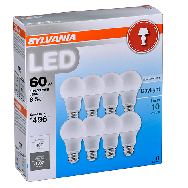 8.5 W LED A19 Bulbs - 60W Equivalent - Daylight - 8 Pack