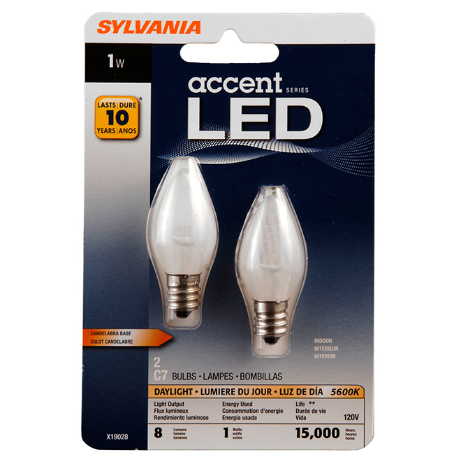 Sylvania 1w Led C7 Candelabra Night Light Bulb Daylight
