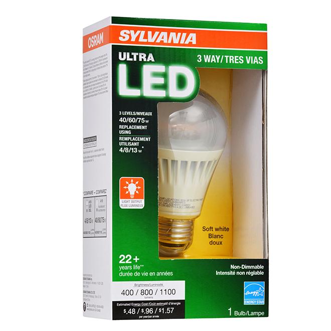3-Way Ultra LED A19 Light Bulb - 4W/8W/13W - Soft White