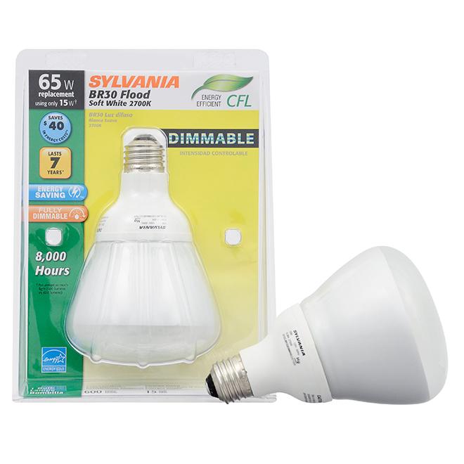 15W Compact Fluorescent BR30 Bulb - 65W Equiv. - Soft White