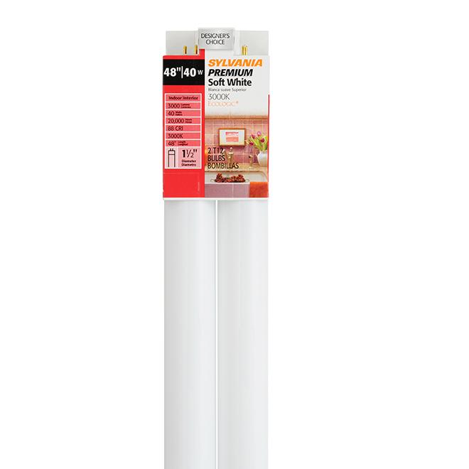 """Ampoules fluorescentes 40 W, 48"""", blanc chaud, paquet de 2"""