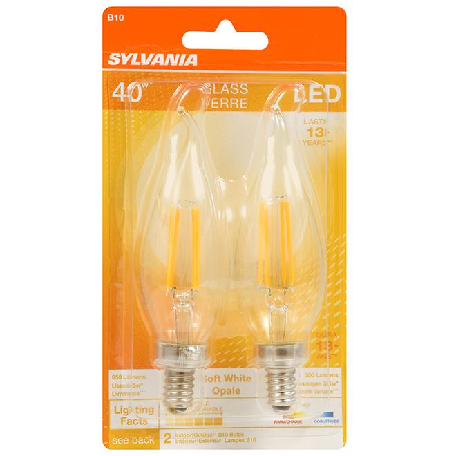 Ampoule DEL B10 candélabre de 4 W, 350 lumens, blanc doux