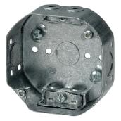 Octagonal Outlet Box - Galvanized Steel - 4 x 4 x 1 1/2-in