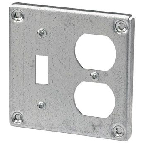 "4"" Square Cover for One Duplex, One Switch"