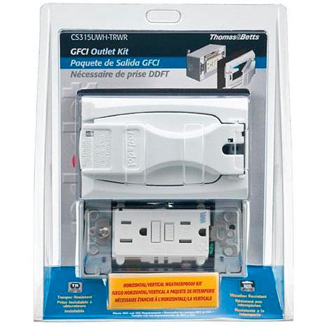 GFCI Outlet Device Box Kit - Weatherproof - 1-Gang