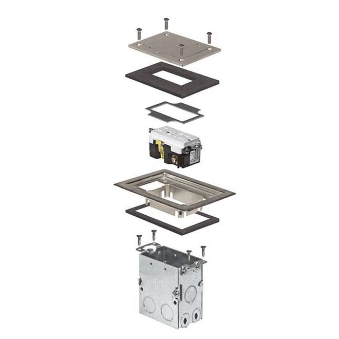 Floor Box Kit - Duplex Receptacle - Nickel