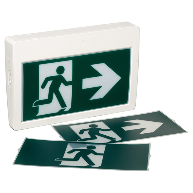 LED Exit Sign with Pictogram - White and Green