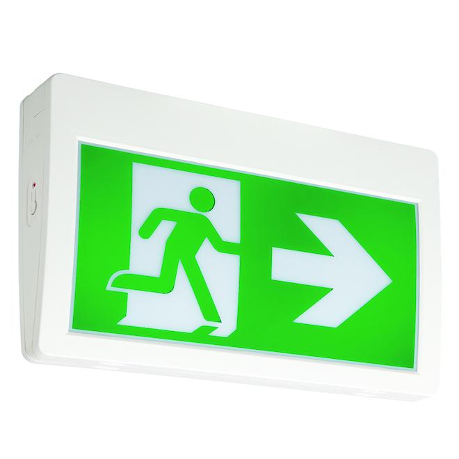 Enseigne de sortie à DEL avec pictogramme, blanc et vert