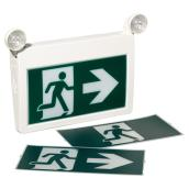 LED Exit Sign with Pictogram and Lights - White and Green
