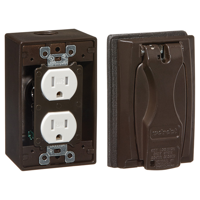 Duplex Receptacle Kit with Box - Bronze