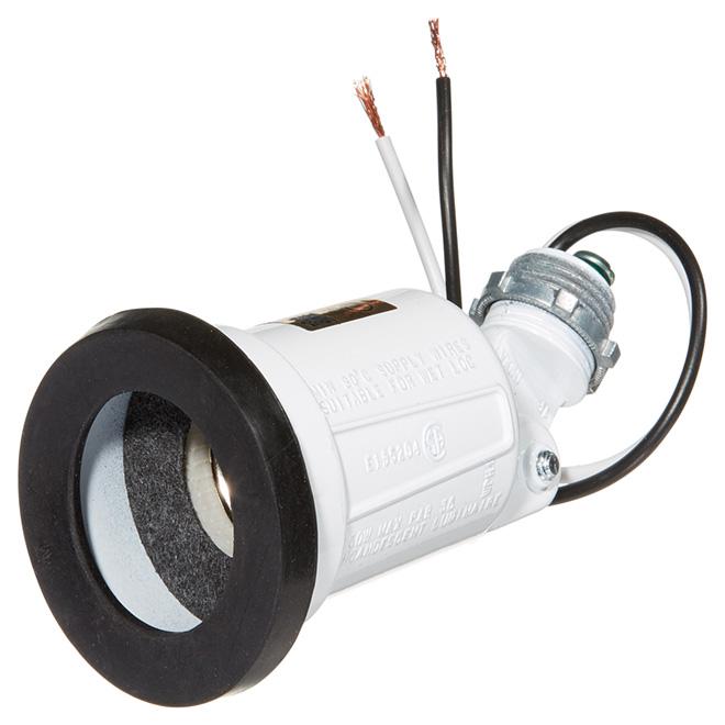 Porte-ampoule extérieur avec joint étanche, 150W, blanc