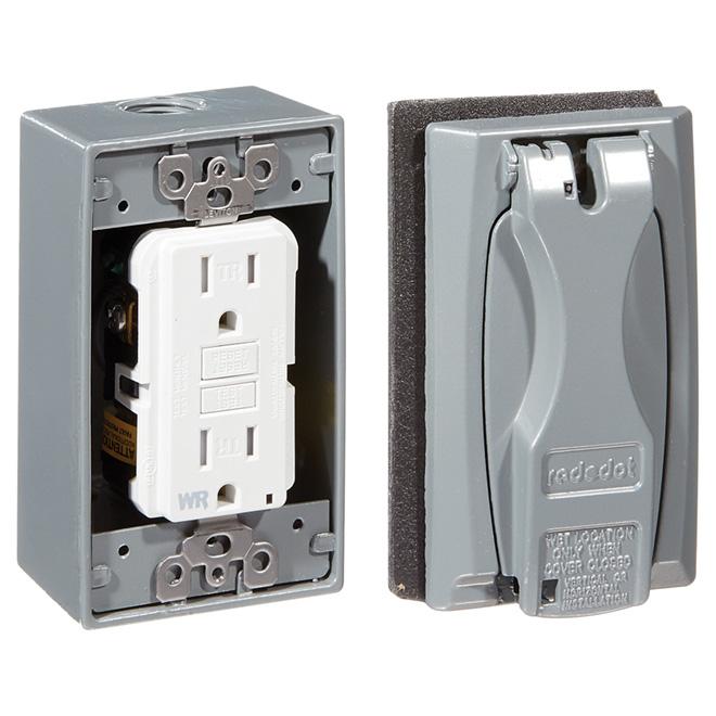 Trousse de sortie électrique, DDFT, 15A, 125v/AC, blanc