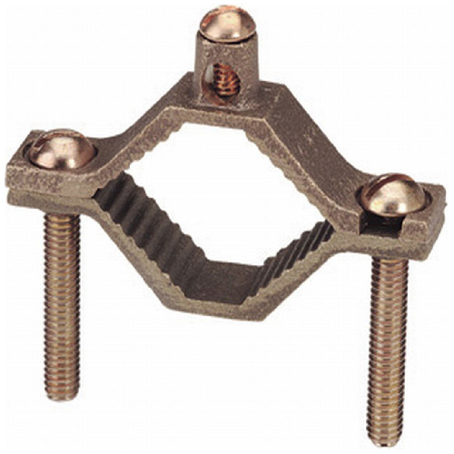 "Ground Clamp - Brass - 1 1/4"" to 2"""