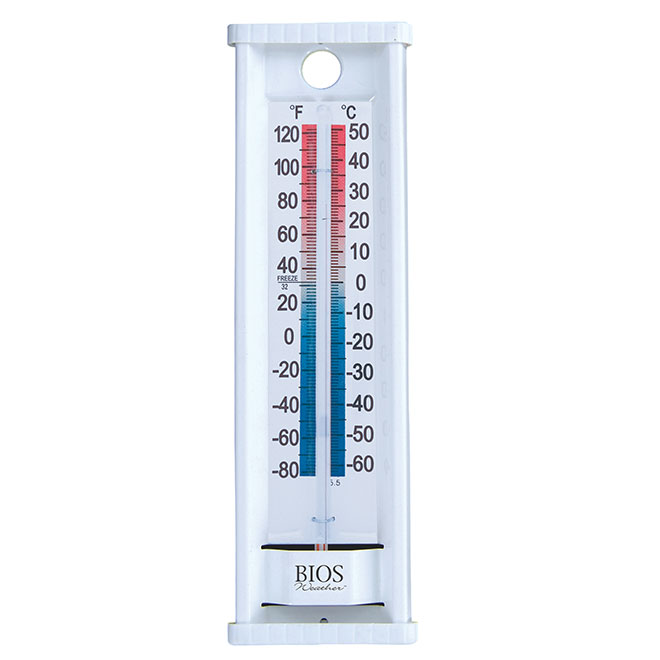 Indoor/Outdoor Thermometer - Aluminum - White