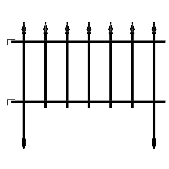 Clôture décorative Empire de Garden Craft en acier, 22,5 po x 18 po, noir