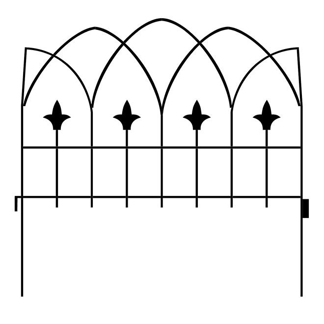 """Garden Craft Gothic Decorative Fence - 19"""" x 19"""" - Black"""