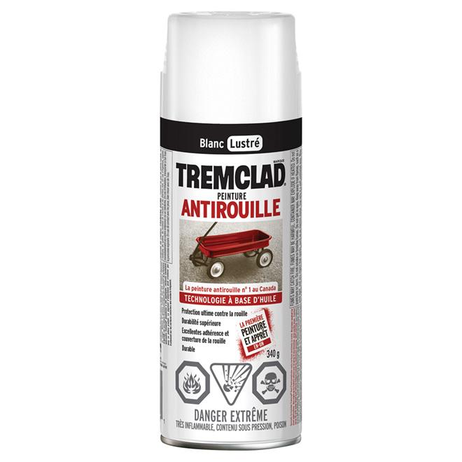 Peinture antirouille en aérosol Tremclad, 340 g, blanc, lustré