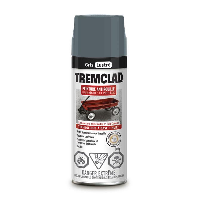 Peinture antirouille en aérosol Tremclad, 340 g, gris, lustré