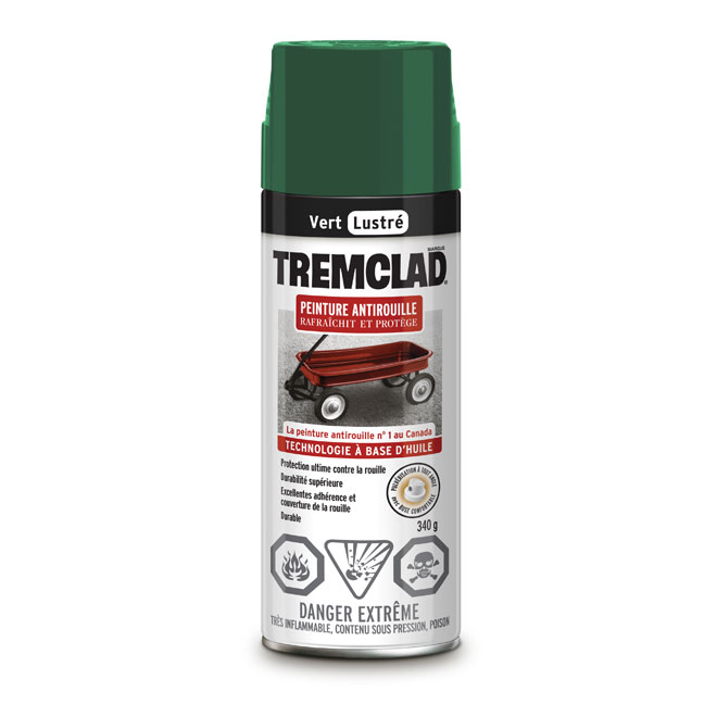 Peinture antirouille en aérosol Tremclad, 340 g, vert, lustré