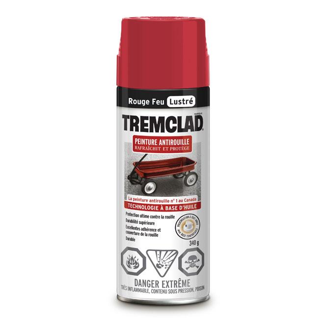 Peinture antirouille en aérosol Tremclad, 340 g, rouge feu, lustré