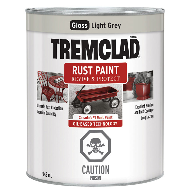 Tremclad Rust Paint - 946 ml - Light Grey - Gloss Finish