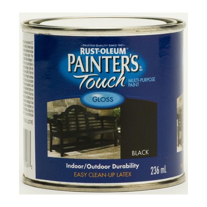 Painter's Touch Multi-Purpose Brush-On Paint - Water-Based - Gloss - Black - 236 ml