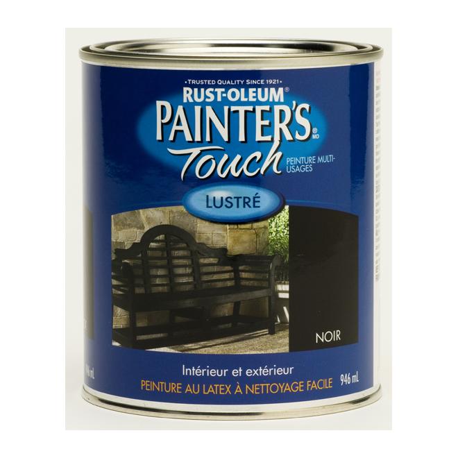 Peinture multi-usage Painter's Touch, à base d'eau, lustré, noir, 946 ml