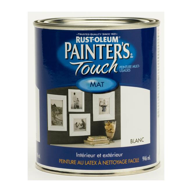 Painter's Touch Multi-Purpose Brush-On Paint - Water-Based - Flat - White - 946 ml