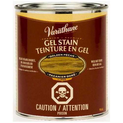 Teinture en gel pour l'intérieur Varathane Premium, à base d'huile, opaque, pacanier doré, 946 ml