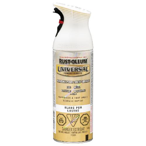 Peinture toute surface en aérosol Universal Rust-Oleum, 340 g, blanc pur lustré