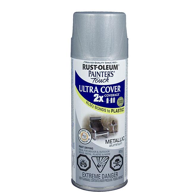 Ultra Cover 2X Spray Paint - Interior/Exterior - 340 g - Aluminum - Metallic