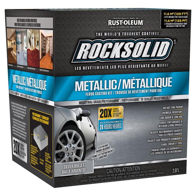 Revêtement de sol métallique «Rocksolid», Argenté, 2.07L