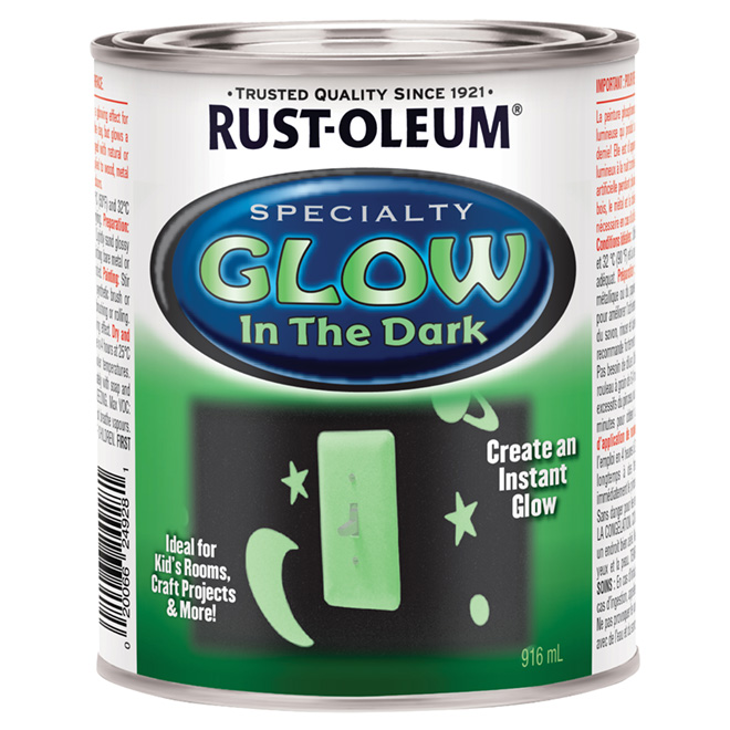 Glow-in-the-Dark Paint - 916 mL   RONA on blue paint exterior, charcoal paint exterior, green paint exterior, pink paint exterior, orange paint exterior, crackle paint exterior, waterproof paint exterior, glow in the dark tires, glow in the dark boats, glow in the dark glass,