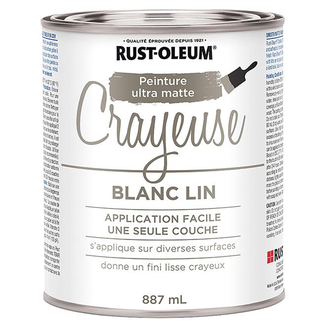 Peinture crayeuse Rust-Oleum, latex, 887 ml, ultra mate, blanc lin