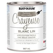 Peinture crayeuse Rust-Oleum, latex, 887 ml, ultra mate, blanc lin