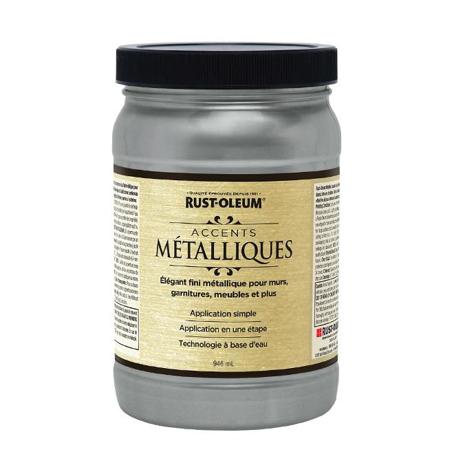 Peinture métallique à base d'eau, 946 ml, étain réel