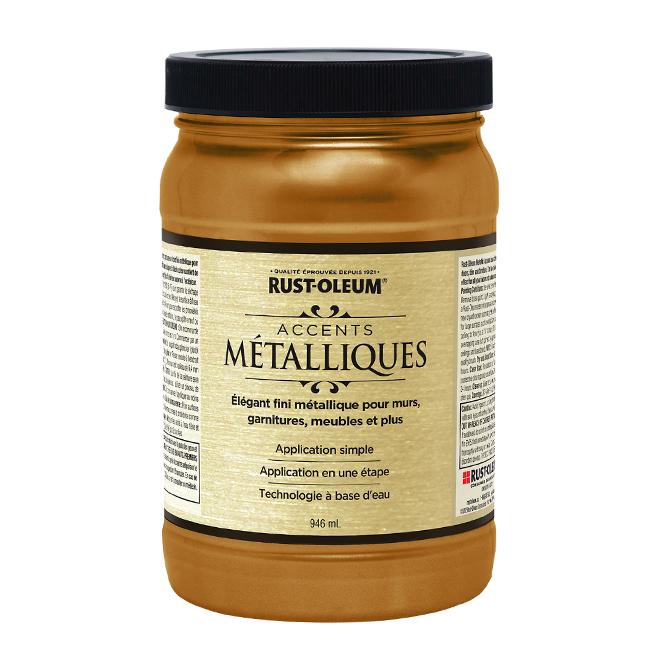 Peinture métallique à base d'eau, 946 ml, mine d'or