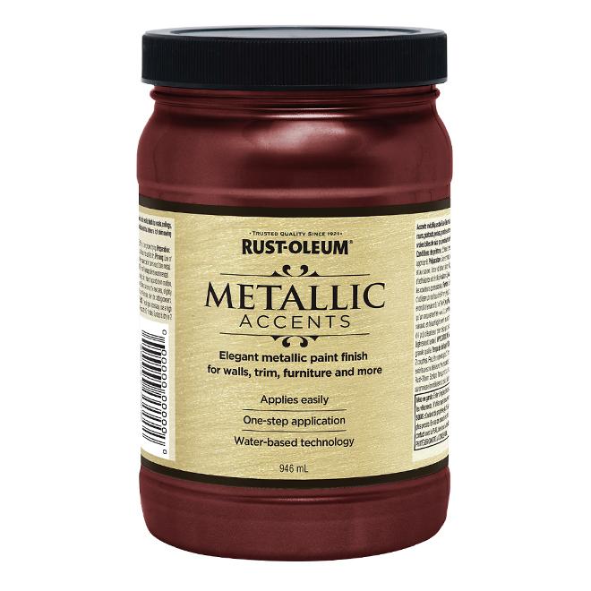 Water-Based Metallic Paint - 946 mL - Black Garnet