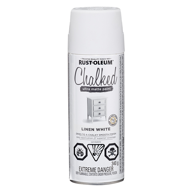Rust-Oleum Aerosol Chalked Paint - 340 g - Ultra Matte - Linen White