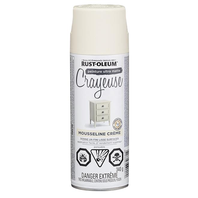 Peinture crayeuse en aérosol Rust-Oleum, 340 g, ultra mate, mousseline crème